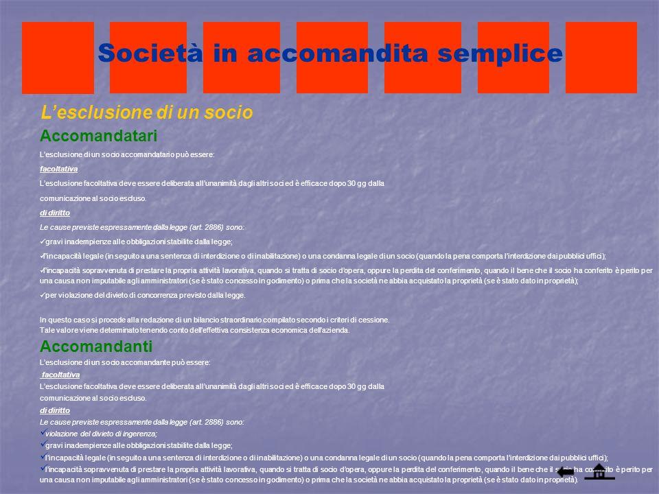 Lesclusione di un socio Accomandatari Lesclusione di un socio accomandatario può essere: facoltativa Lesclusione facoltativa deve essere deliberata al