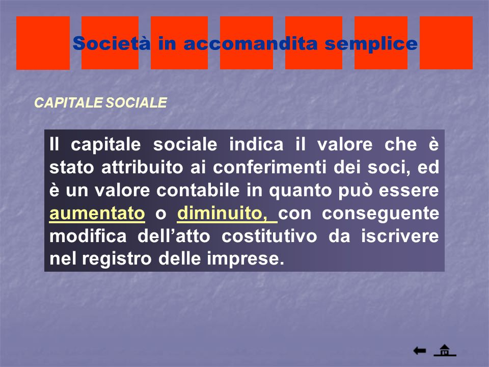 CAPITALE SOCIALE Società in accomandita semplice Il capitale sociale indica il valore che è stato attribuito ai conferimenti dei soci, ed è un valore