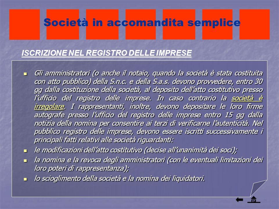 Gli amministratori (o anche il notaio, quando la società è stata costituita con atto pubblico) della S.n.c. e della S.a.s. devono provvedere, entro 30