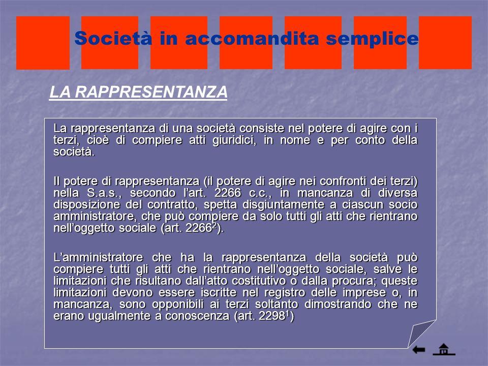 La rappresentanza di una società consiste nel potere di agire con i terzi, cioè di compiere atti giuridici, in nome e per conto della società. Il pote