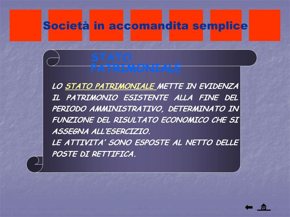 Società in accomandita semplice LO STATO PATRIMONIALE METTE IN EVIDENZA IL PATRIMONIO ESISTENTE ALLA FINE DEL PERIODO AMMINISTRATIVO, DETERMINATO IN F