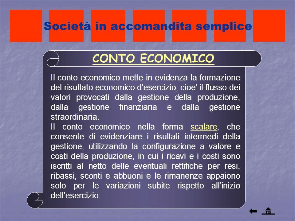 Società in accomandita semplice Il conto economico mette in evidenza la formazione del risultato economico desercizio, cioe il flusso dei valori provo