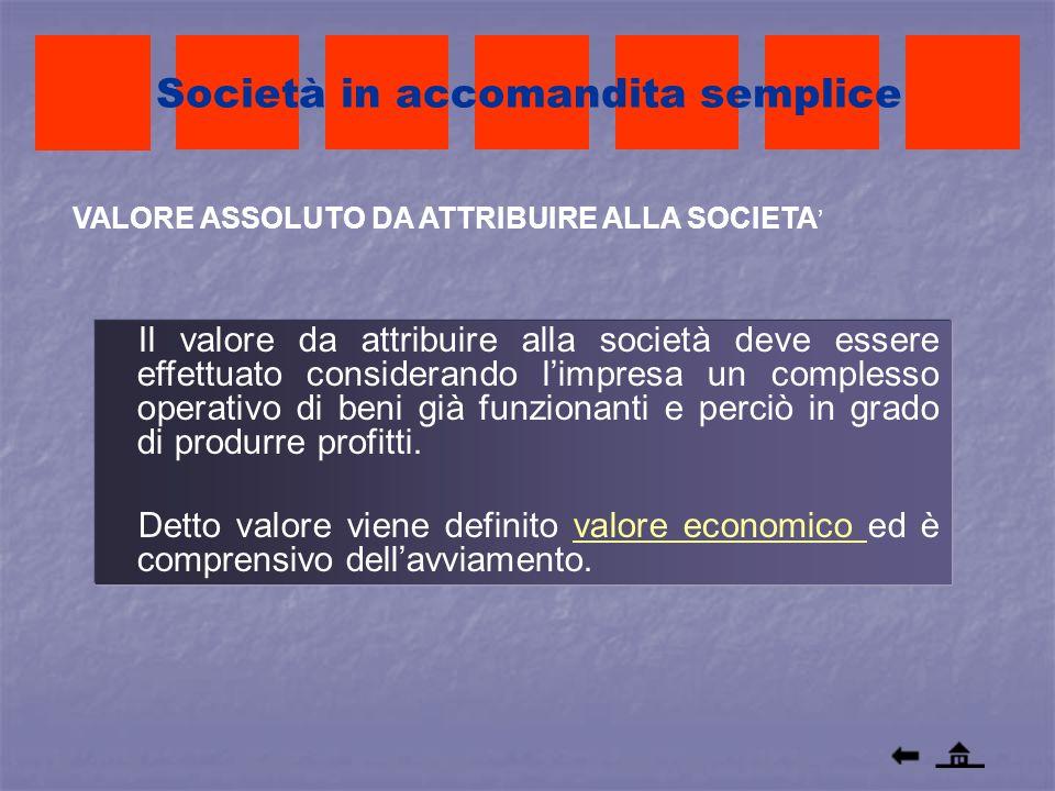 VALORE ASSOLUTO DA ATTRIBUIRE ALLA SOCIETA Società in accomandita semplice Il valore da attribuire alla società deve essere effettuato considerando li