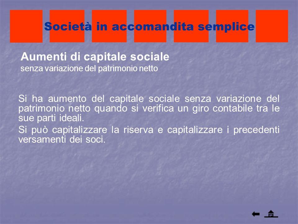 Aumenti di capitale sociale senza variazione del patrimonio netto Società in accomandita semplice Si ha aumento del capitale sociale senza variazione