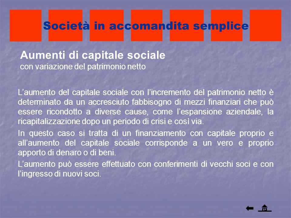 Aumenti di capitale sociale con variazione del patrimonio netto Società in accomandita semplice Laumento del capitale sociale con lincremento del patr