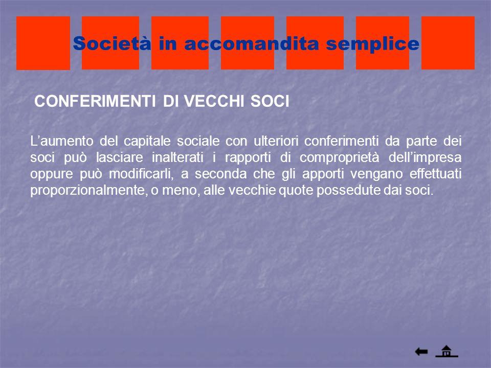 CONFERIMENTI DI VECCHI SOCI Società in accomandita semplice Laumento del capitale sociale con ulteriori conferimenti da parte dei soci può lasciare in