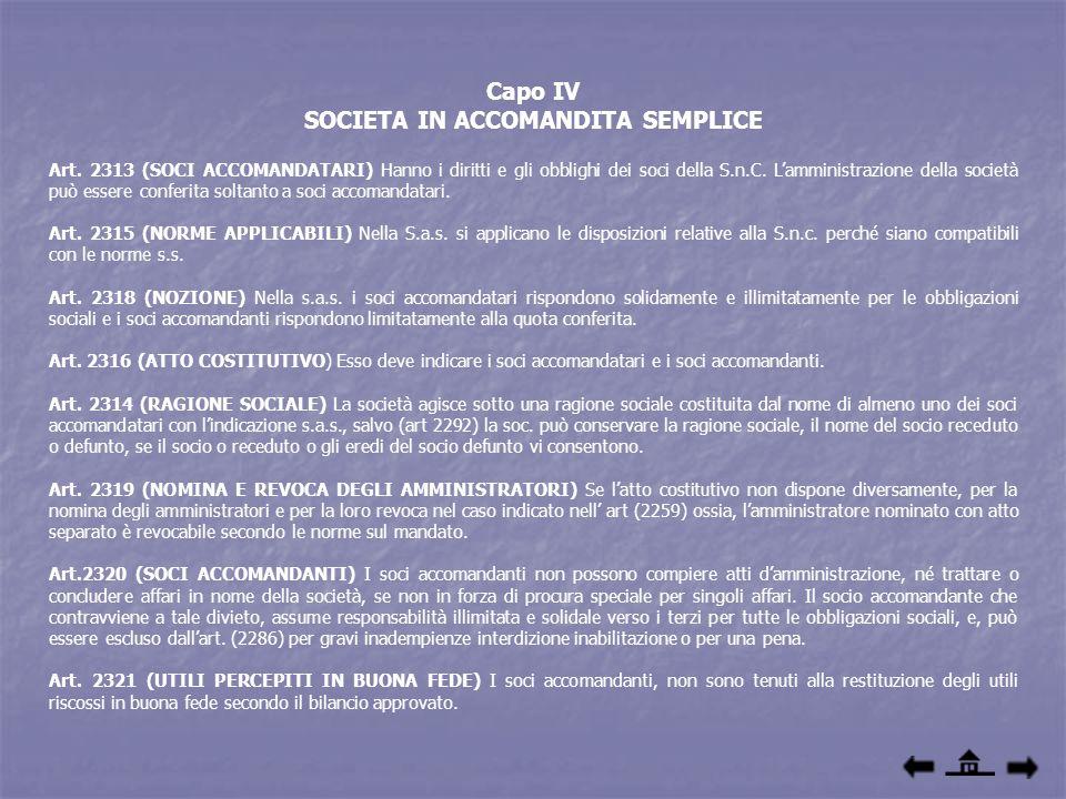 Capo IV SOCIETA IN ACCOMANDITA SEMPLICE Art. 2313 (SOCI ACCOMANDATARI) Hanno i diritti e gli obblighi dei soci della S.n.C. Lamministrazione della soc