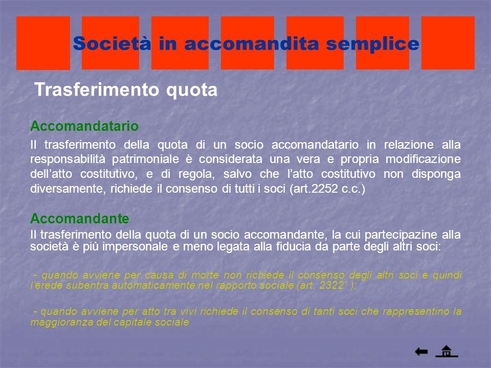 Trasferimento quota Società in accomandita semplice Accomandatario Il trasferimento della quota di un socio accomandatario in relazione alla responsab