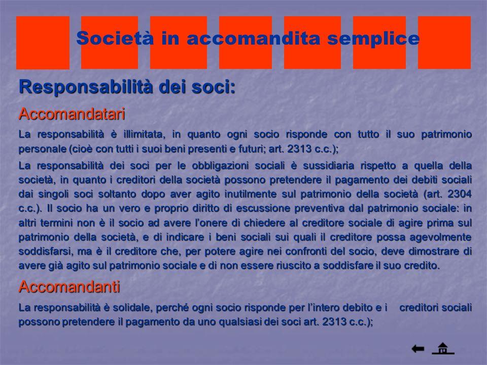 Responsabilità dei soci: Accomandatari La responsabilità è illimitata, in quanto ogni socio risponde con tutto il suo patrimonio personale (cioè con t