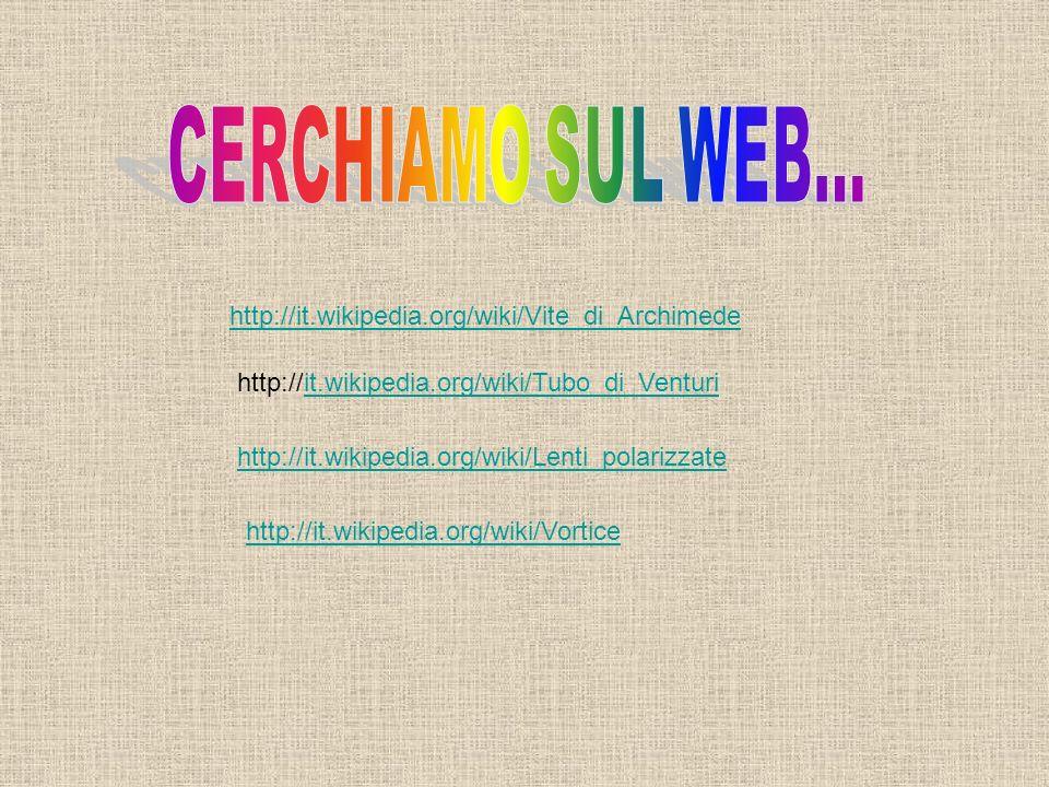 http://it.wikipedia.org/wiki/Tubo_di_Venturiit.wikipedia.org/wiki/Tubo_di_Venturi http://it.wikipedia.org/wiki/Lenti_polarizzate http://it.wikipedia.o