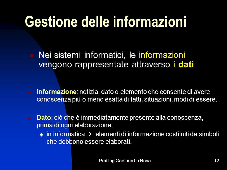 Prof Ing Gaetano La Rosa12 Gestione delle informazioni Nei sistemi informatici, le informazioni vengono rappresentate attraverso i dati Informazione: notizia, dato o elemento che consente di avere conoscenza più o meno esatta di fatti, situazioni, modi di essere.