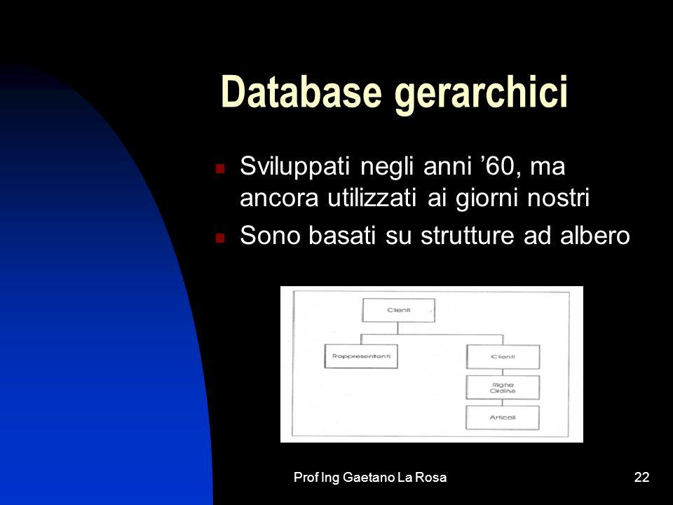 Prof Ing Gaetano La Rosa22 Database gerarchici Sviluppati negli anni 60, ma ancora utilizzati ai giorni nostri Sono basati su strutture ad albero