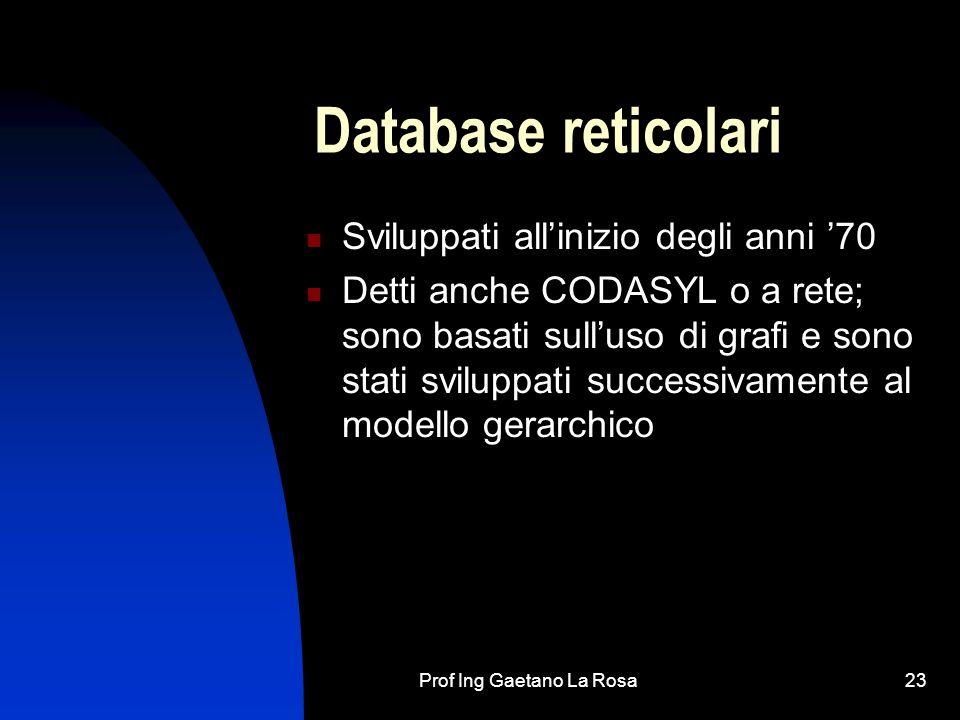 Prof Ing Gaetano La Rosa23 Database reticolari Sviluppati allinizio degli anni 70 Detti anche CODASYL o a rete; sono basati sulluso di grafi e sono stati sviluppati successivamente al modello gerarchico