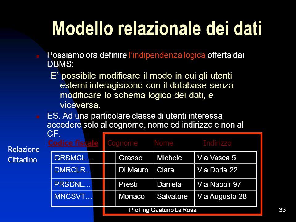 Prof Ing Gaetano La Rosa33 Modello relazionale dei dati Possiamo ora definire lindipendenza logica offerta dai DBMS: E possibile modificare il modo in cui gli utenti esterni interagiscono con il database senza modificare lo schema logico dei dati, e viceversa.