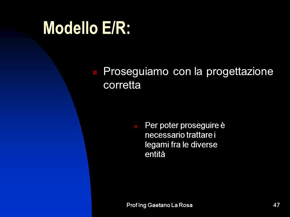 Prof Ing Gaetano La Rosa47 Modello E/R: Proseguiamo con la progettazione corretta Per poter proseguire è necessario trattare i legami fra le diverse entità