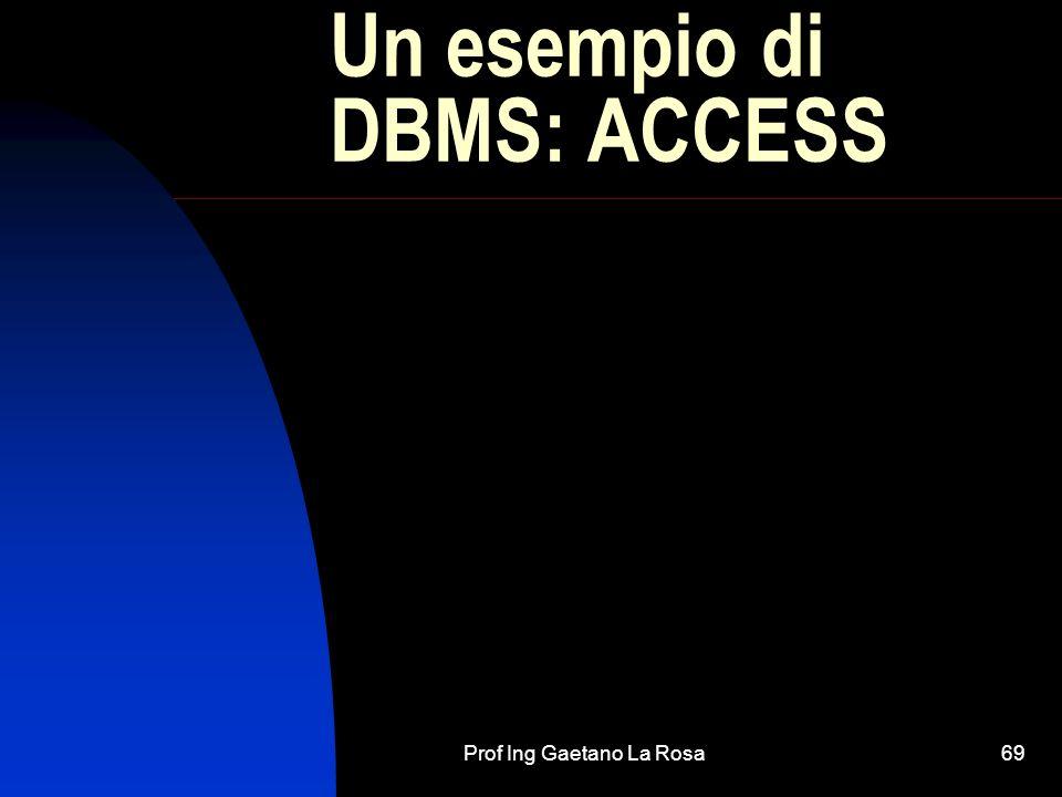 Prof Ing Gaetano La Rosa69 Un esempio di DBMS: ACCESS