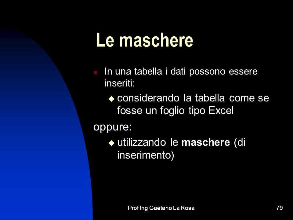 Prof Ing Gaetano La Rosa79 Le maschere In una tabella i dati possono essere inseriti: considerando la tabella come se fosse un foglio tipo Excel oppure: utilizzando le maschere (di inserimento)