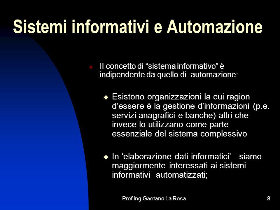 Prof Ing Gaetano La Rosa8 Sistemi informativi e Automazione Il concetto di sistema informativo è indipendente da quello di automazione: Esistono organizzazioni la cui ragion dessere è la gestione dinformazioni (p.e.