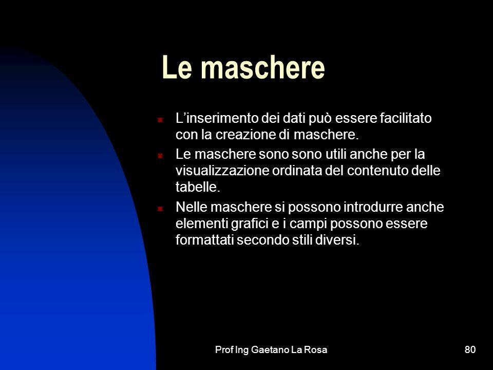Prof Ing Gaetano La Rosa80 Le maschere Linserimento dei dati può essere facilitato con la creazione di maschere.