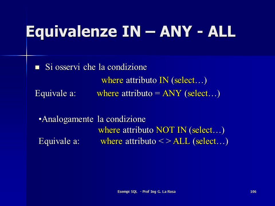 Esempi SQL - Prof Ing G. La Rosa106 Equivalenze IN – ANY - ALL Si osservi che la condizione Si osservi che la condizione where attributo IN (select…)