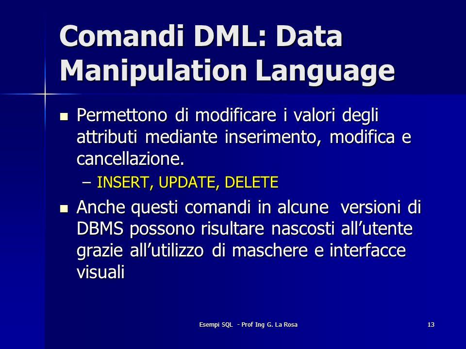 Esempi SQL - Prof Ing G. La Rosa13 Comandi DML: Data Manipulation Language Permettono di modificare i valori degli attributi mediante inserimento, mod