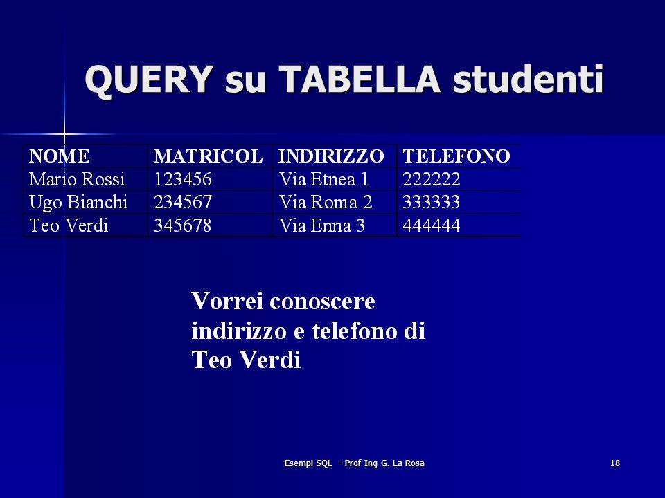 Esempi SQL - Prof Ing G. La Rosa18 QUERY su TABELLA studenti