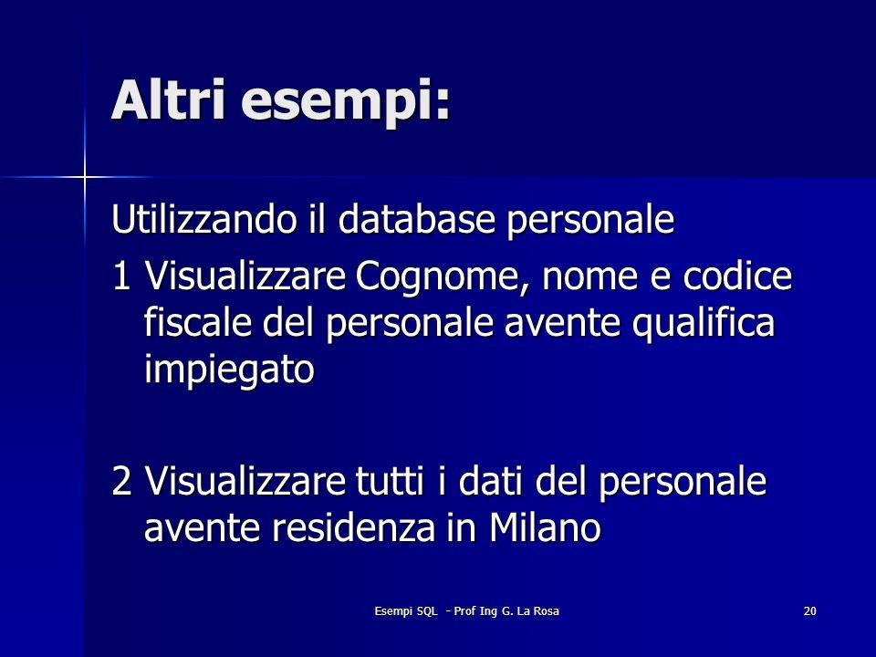 Esempi SQL - Prof Ing G. La Rosa20 Altri esempi: Utilizzando il database personale 1 Visualizzare Cognome, nome e codice fiscale del personale avente