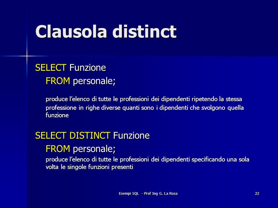 Esempi SQL - Prof Ing G. La Rosa22 Clausola distinct SELECT Funzione FROM personale; produce lelenco di tutte le professioni dei dipendenti ripetendo