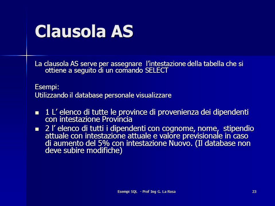 Esempi SQL - Prof Ing G. La Rosa23 Clausola AS La clausola AS serve per assegnare lintestazione della tabella che si ottiene a seguito di un comando S