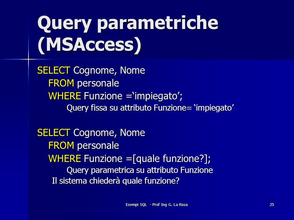 Esempi SQL - Prof Ing G. La Rosa25 Query parametriche (MSAccess) SELECT Cognome, Nome FROM personale WHERE Funzione =impiegato; Query fissa su attribu