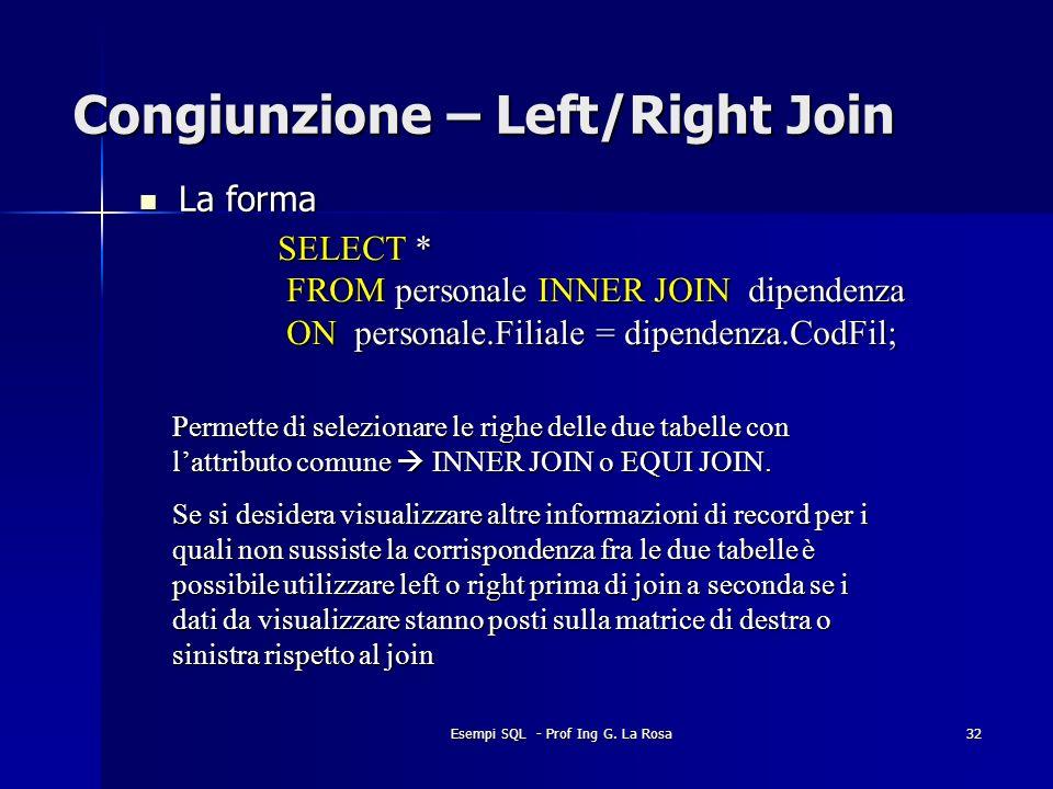 Esempi SQL - Prof Ing G. La Rosa32 Congiunzione – Left/Right Join La forma La forma SELECT * FROM personale INNER JOIN dipendenza FROM personale INNER