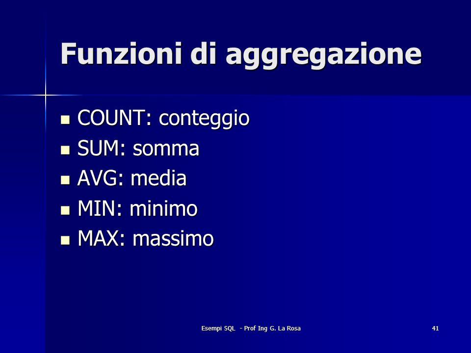 Esempi SQL - Prof Ing G. La Rosa41 Funzioni di aggregazione COUNT: conteggio COUNT: conteggio SUM: somma SUM: somma AVG: media AVG: media MIN: minimo