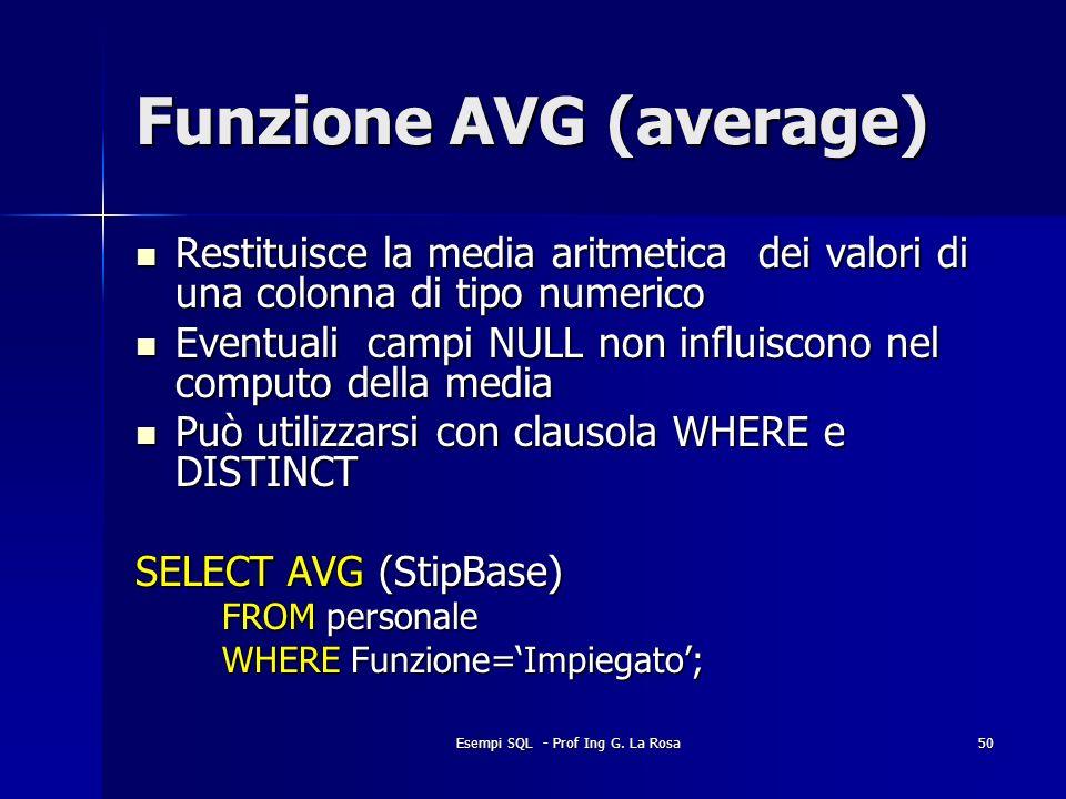 Esempi SQL - Prof Ing G. La Rosa50 Funzione AVG (average) Restituisce la media aritmetica dei valori di una colonna di tipo numerico Restituisce la me