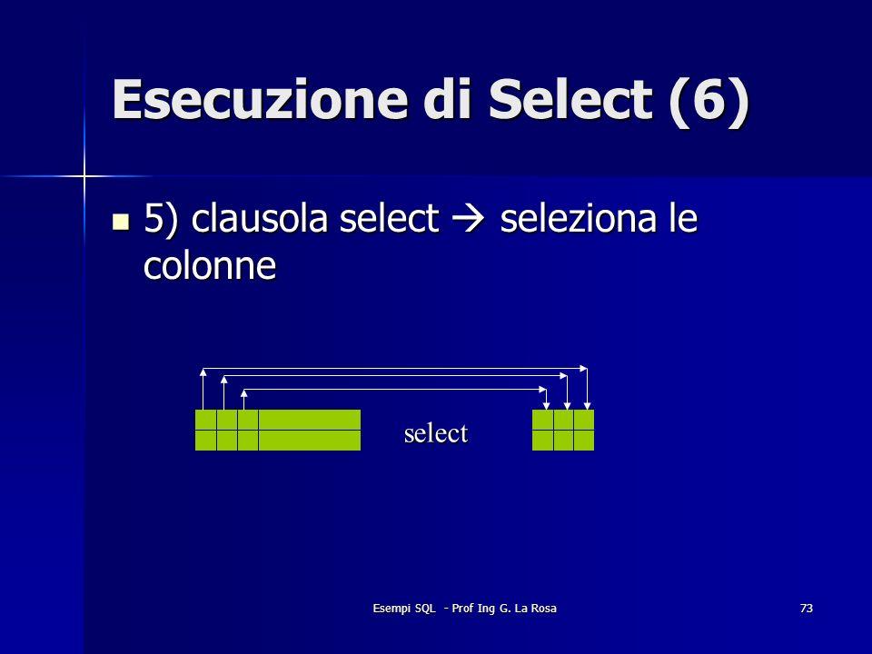 Esempi SQL - Prof Ing G. La Rosa73 Esecuzione di Select (6) 5) clausola select seleziona le colonne 5) clausola select seleziona le colonne select