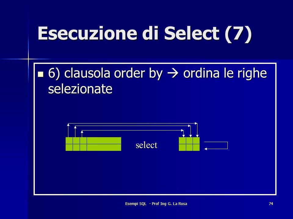 Esempi SQL - Prof Ing G. La Rosa74 Esecuzione di Select (7) 6) clausola order by ordina le righe selezionate 6) clausola order by ordina le righe sele