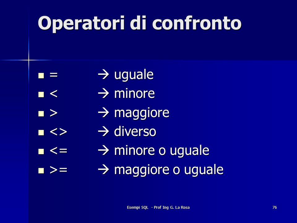 Esempi SQL - Prof Ing G. La Rosa76 Operatori di confronto = uguale = uguale < minore < minore > maggiore > maggiore <> diverso <> diverso <= minore o