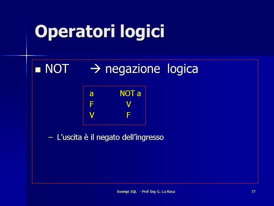 Esempi SQL - Prof Ing G. La Rosa77 Operatori logici NOT negazione logica NOT negazione logica a NOT a F V V F –Luscita è il negato dellingresso