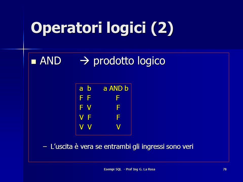 Esempi SQL - Prof Ing G. La Rosa78 Operatori logici (2) AND prodotto logico AND prodotto logico a b a AND b F F F F V F V F F V V V –Luscita è vera se