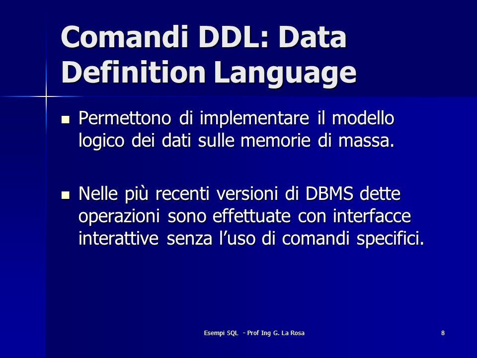 Esempi SQL - Prof Ing G. La Rosa8 Comandi DDL: Data Definition Language Permettono di implementare il modello logico dei dati sulle memorie di massa.