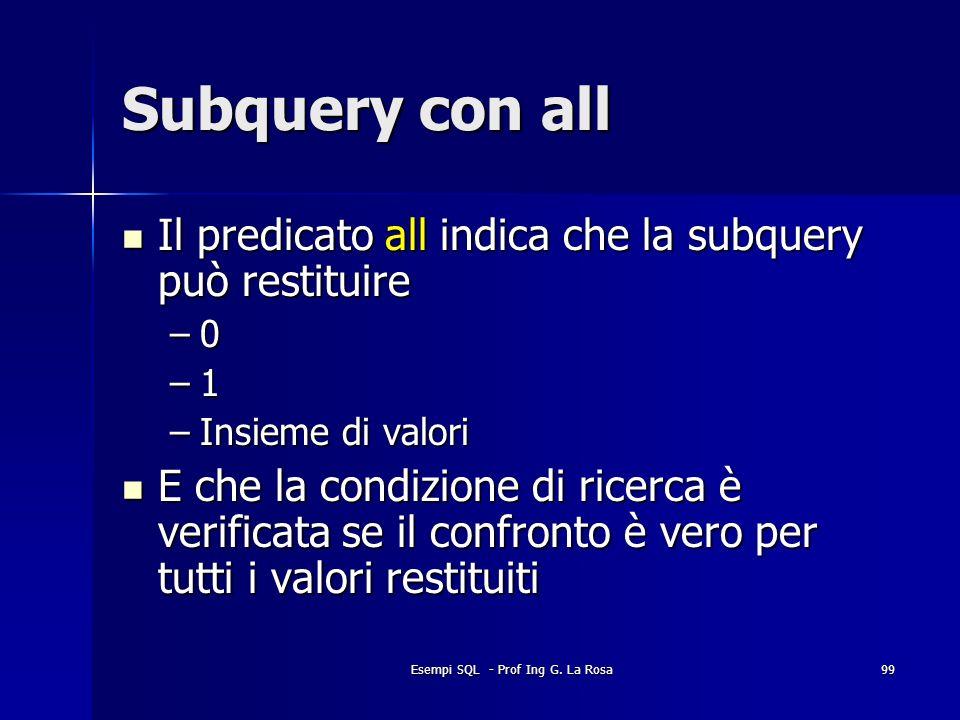 Esempi SQL - Prof Ing G. La Rosa99 Subquery con all Il predicato all indica che la subquery può restituire Il predicato all indica che la subquery può