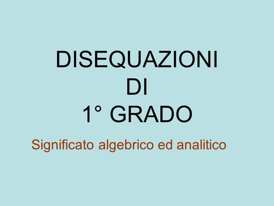 Disequazioni di 1° grado intere Definizione: Una disuguaglianza tra due espressioni algebriche intere di primo grado rispetto ad una stessa variabile.