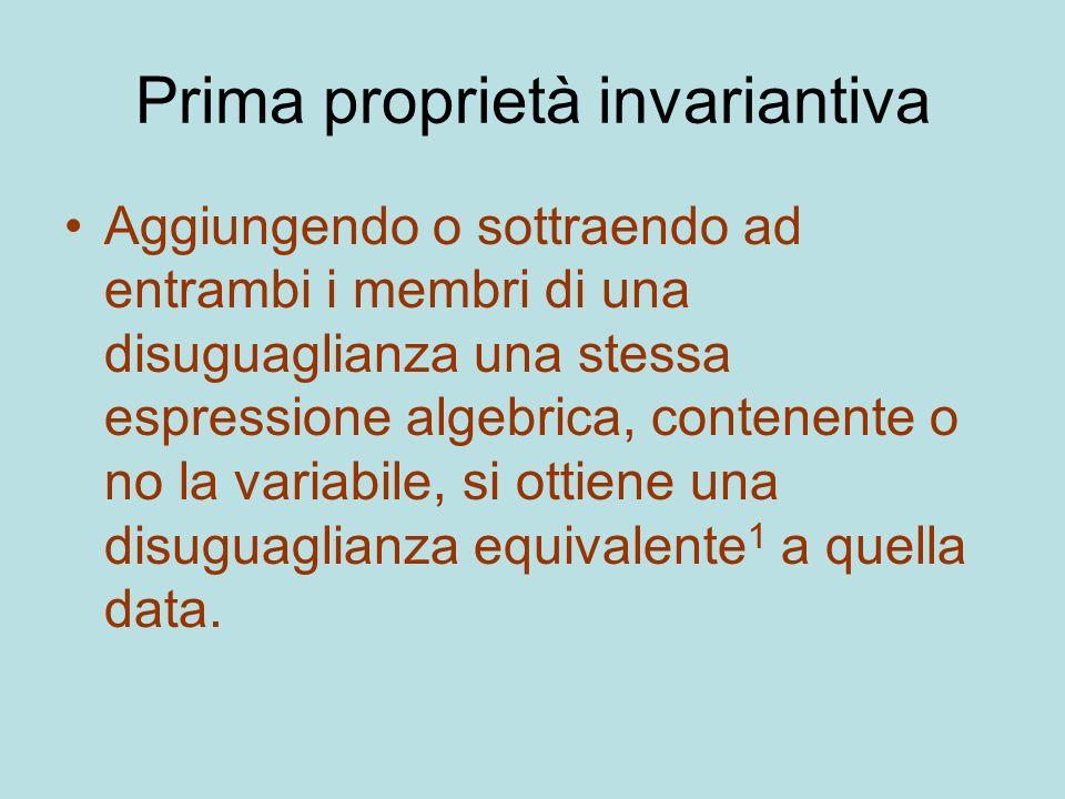 Prima proprietà invariantiva Aggiungendo o sottraendo ad entrambi i membri di una disuguaglianza una stessa espressione algebrica, contenente o no la