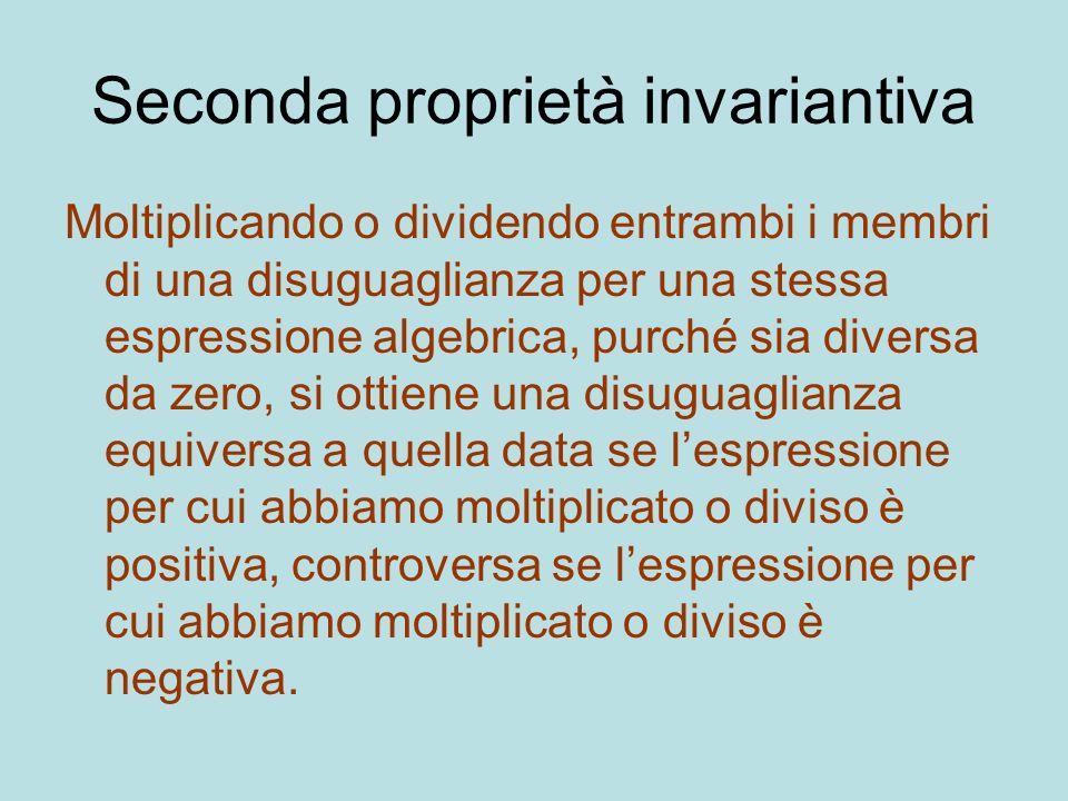 Seconda proprietà invariantiva Moltiplicando o dividendo entrambi i membri di una disuguaglianza per una stessa espressione algebrica, purché sia dive