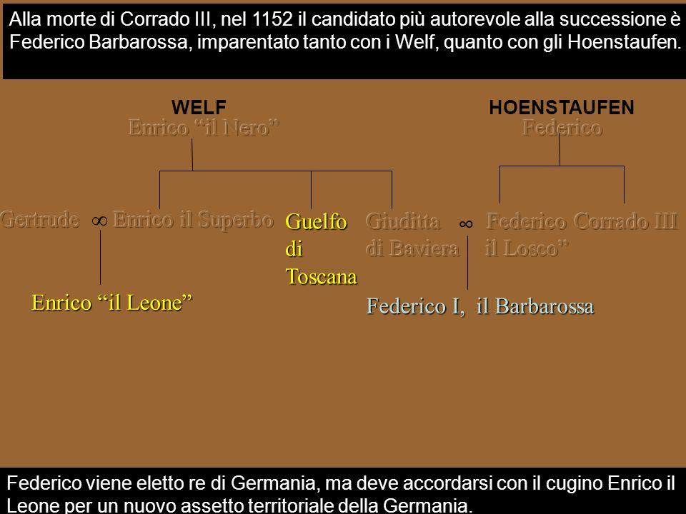 WELF Guelfo di Toscana Federico viene eletto re di Germania, ma deve accordarsi con il cugino Enrico il Leone per un nuovo assetto territoriale della