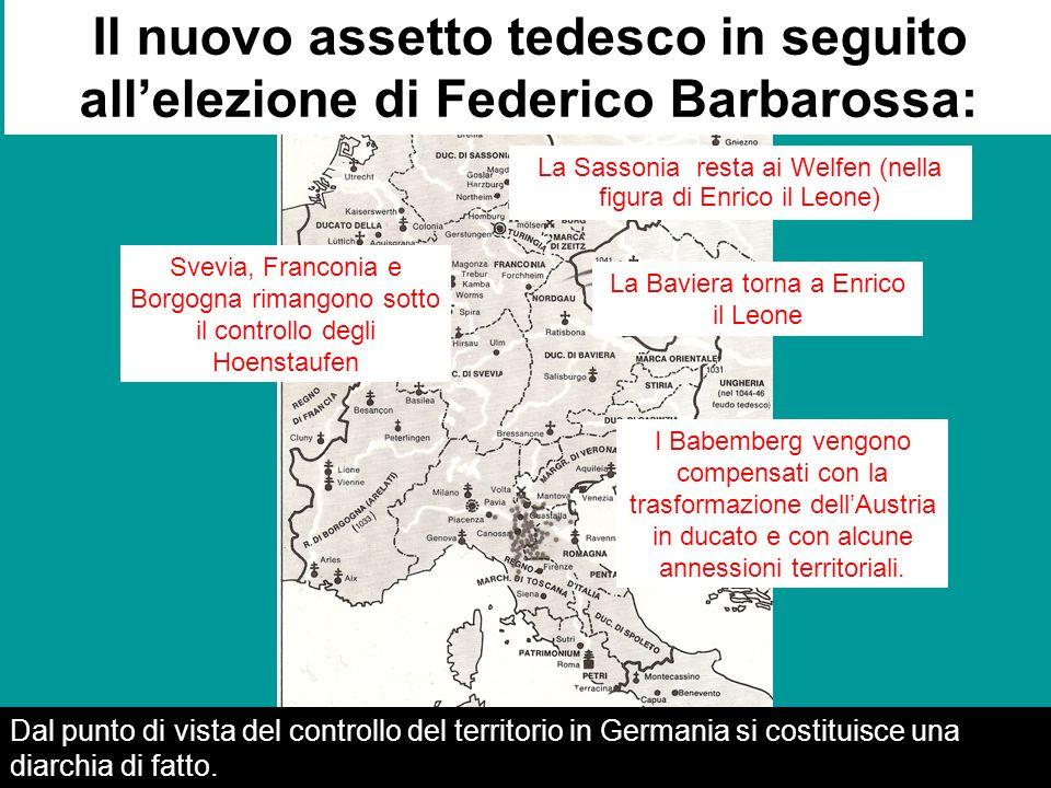 z La Sassonia resta ai Welfen (nella figura di Enrico il Leone) La Baviera torna a Enrico il Leone Il nuovo assetto tedesco in seguito allelezione di