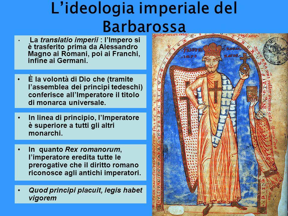 Lideologia imperiale del Barbarossa La translatio imperii : lImpero si è trasferito prima da Alessandro Magno ai Romani, poi ai Franchi, infine ai Ger