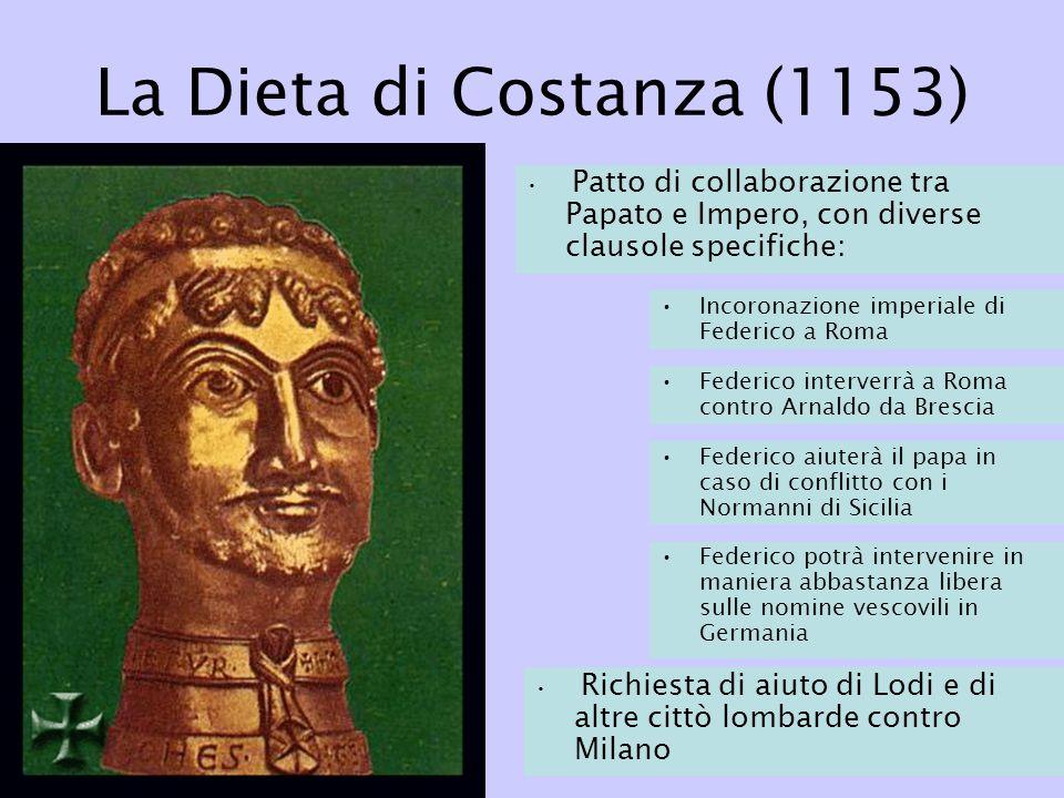 La Dieta di Costanza (1153) Patto di collaborazione tra Papato e Impero, con diverse clausole specifiche: Incoronazione imperiale di Federico a Roma F