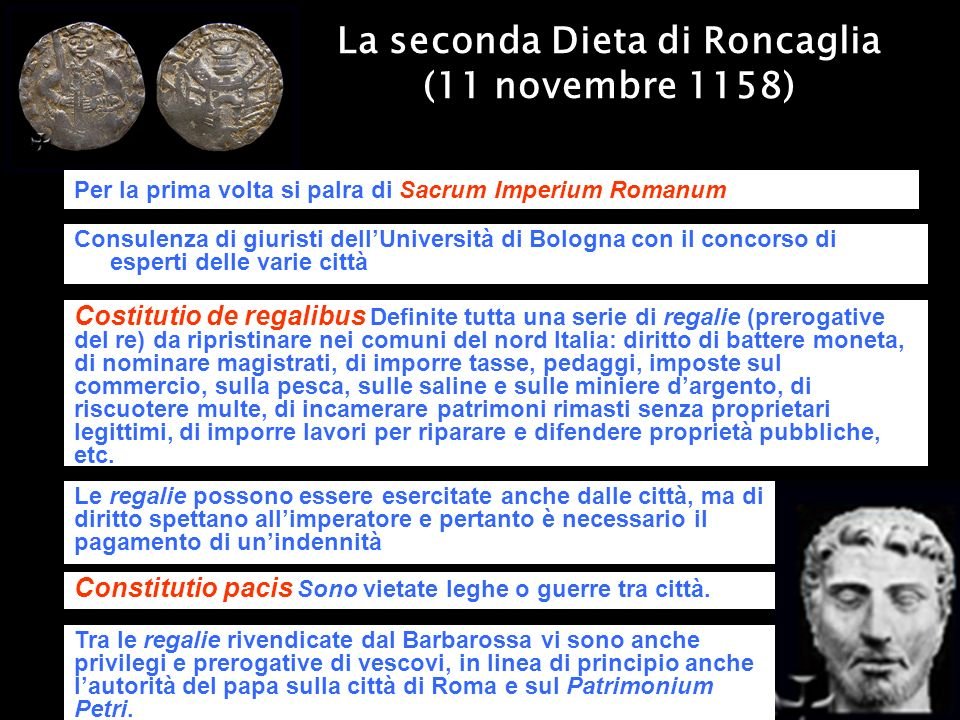 La seconda Dieta di Roncaglia (11 novembre 1158) Per la prima volta si palra di Sacrum Imperium Romanum Consulenza di giuristi dellUniversità di Bolog