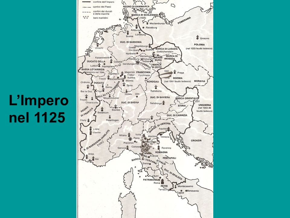 -1125: Muore Enrico V (senza figli) -Nessun criterio giuridicamente certo per stabilire la successione, ma diversi ordini di consuetudini: -Successione ereditaria -Designazione del successore -Successione elettiva Tutta la nobiltà.