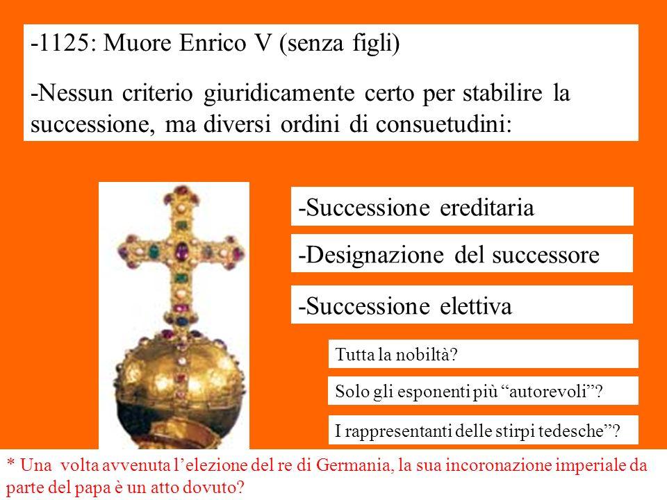 -1125: Muore Enrico V (senza figli) -Nessun criterio giuridicamente certo per stabilire la successione, ma diversi ordini di consuetudini: -Succession